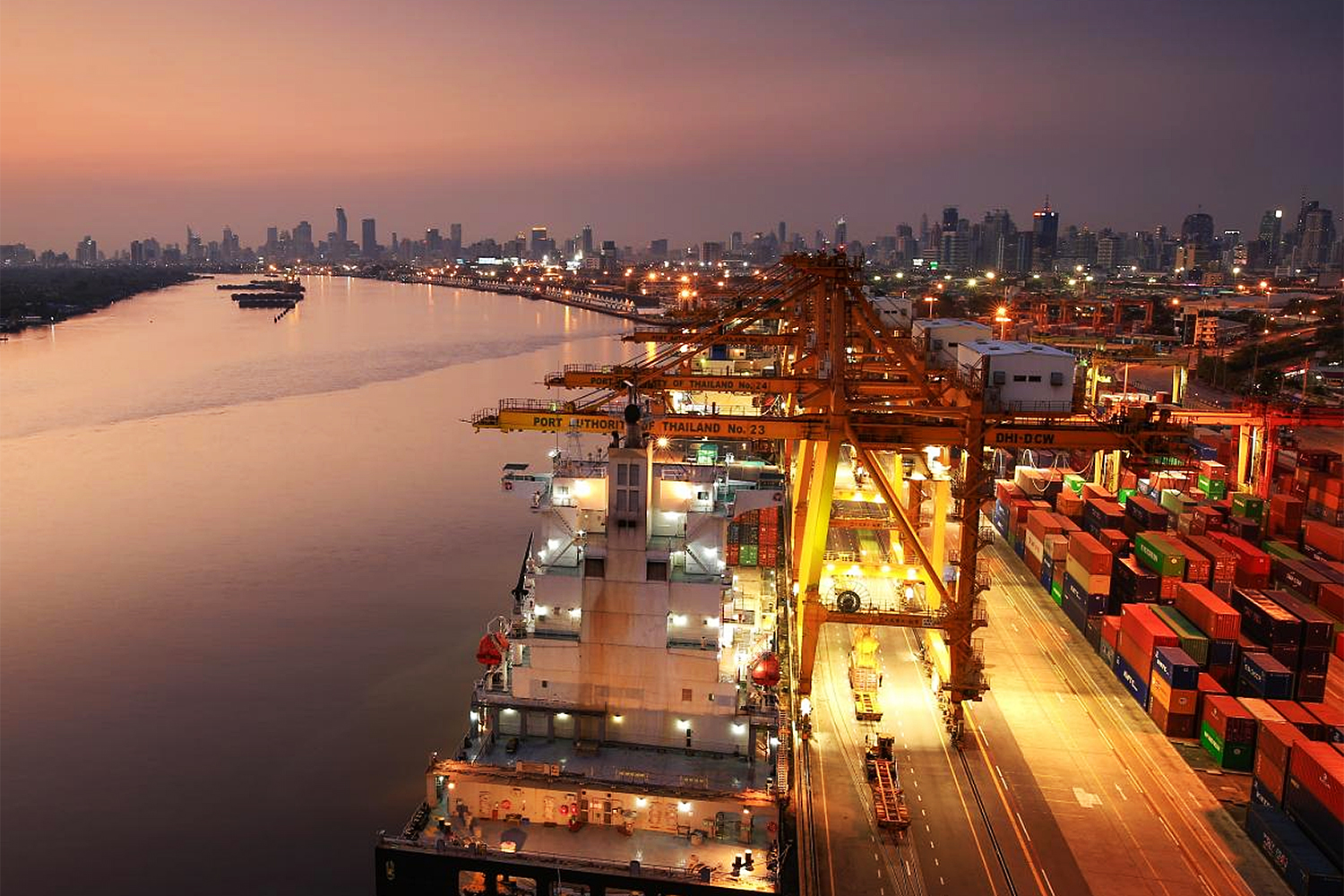 An aerial view of Bangkok port. The Customs Department is developing the National Single Window to ease trade.