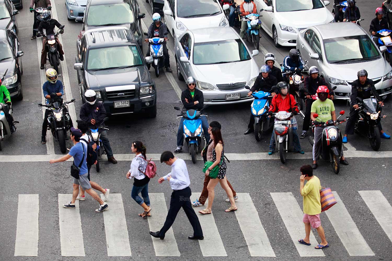 A zebra crossings in Bangkok. (Bangkok Post file photo)
