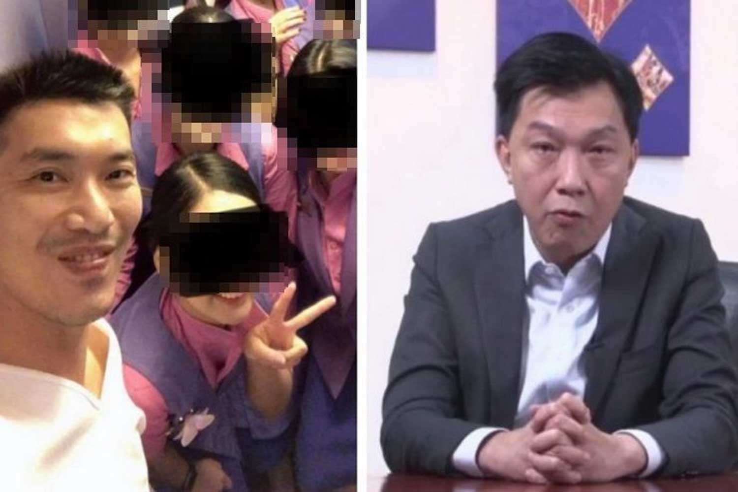 Thai Airways International president Sumeth Damrongchaitham, right, speaks in a video clip to employees in the wake of the posting of online selfies, left, showing flight attendants with Future Forward Party leader Thanathorn Juangroongruangkit.