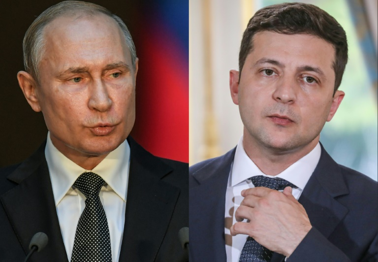 (COMBO) This combination of pictures created on July 11, 2019 shows Russian President Vladimir Putin (L) speaking during a press conference at palazzo Chigi in Rome on July 4, 2019. And Ukraine's President Volodymyr Zelensky during a press conference at the Elysee presidential palace in Paris on June 17, 2019 in Paris Russian President Vladimir Putin and Ukraine's new president Volodymyr Zelensky discussed the conflict in eastern Ukraine in their first ever telephone conversation, the Kremlin said on July 11, 2019.