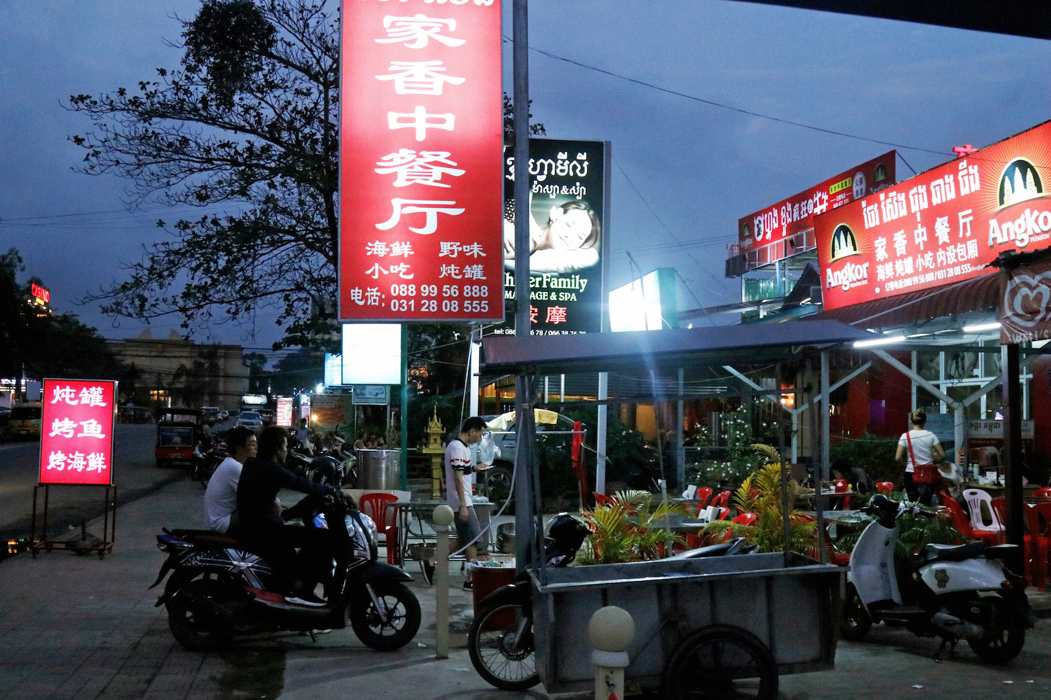 Almost 90% of the tourism businesses in Sihanoukville, ranging from hotels, casinos and restaurants to massage parlours, are now run by Chinese. (Kyodo Photo)