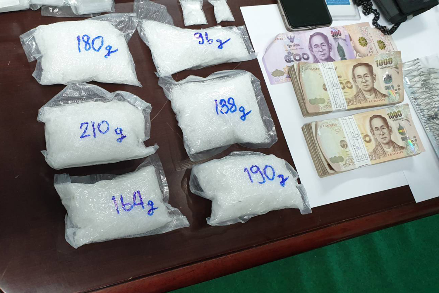 Police display crystal methamphetamine and cash seized from US citizen Bart Helmus and his Thai wife, Sirinapha Wisetrit, on Saturday in Pattaya. (Photo by Chaiyot Pupattanapong)