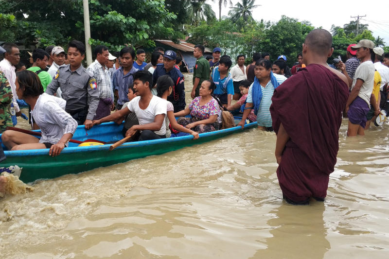 Monsoon flooding forces thousands from homes in Myanmar