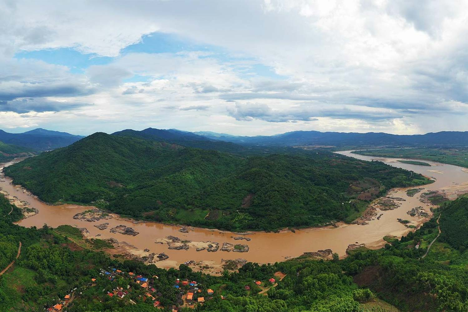 Photo of the Mekong River on the Thai-Lao border in Chiang Rai in July 2019. (Photo by Sommai Iaopradistha)