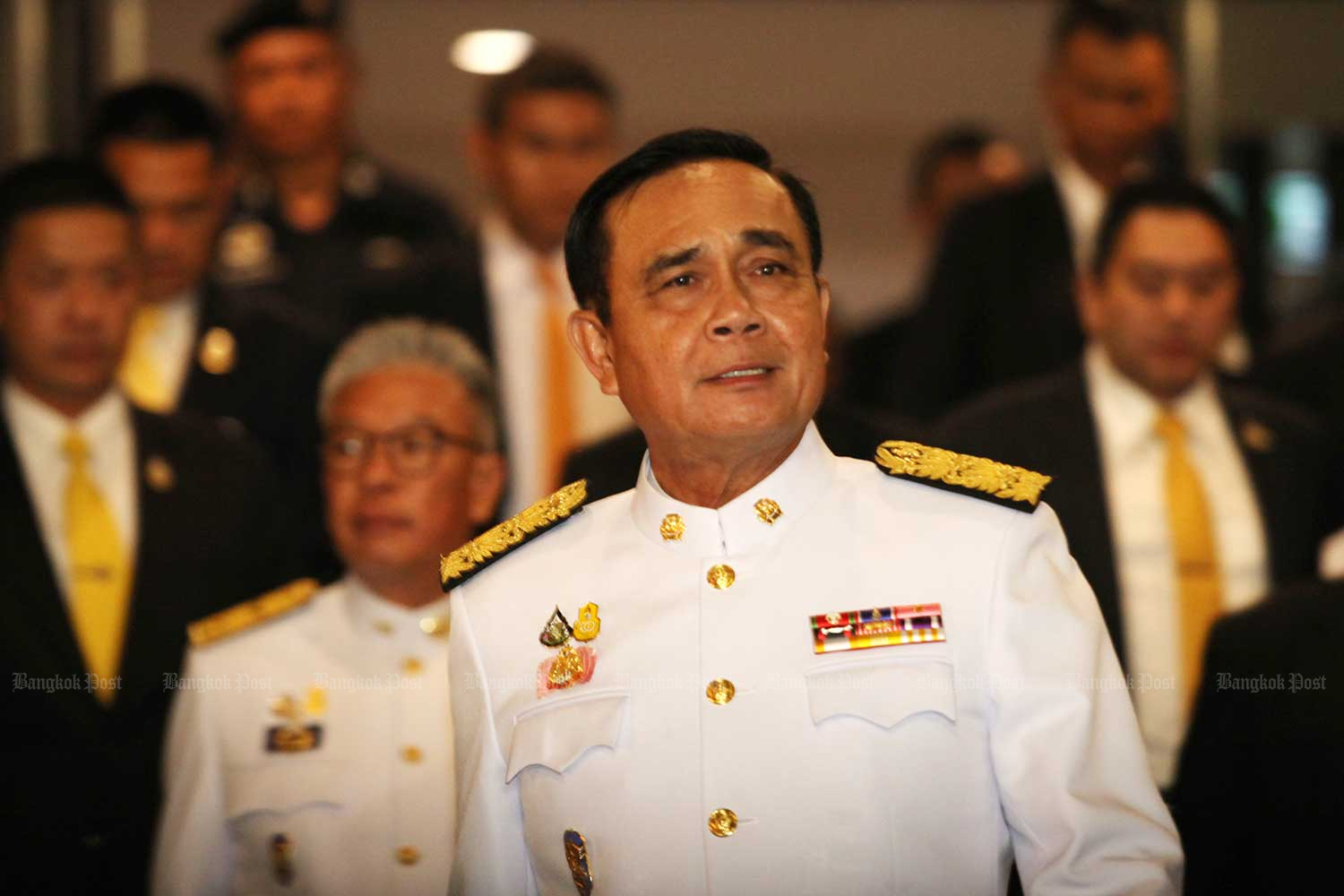 """Although he ran the country for five years in an unelected capacity, officially Prayut Chan-o-cha is just a retired soldier. The Constitutional Court is being asked to determine if being the junta head made him a """"state official"""", which would have barred him from standing as a prime ministerial candidate. (Photo by Wichan Charoenkiatpakul)"""