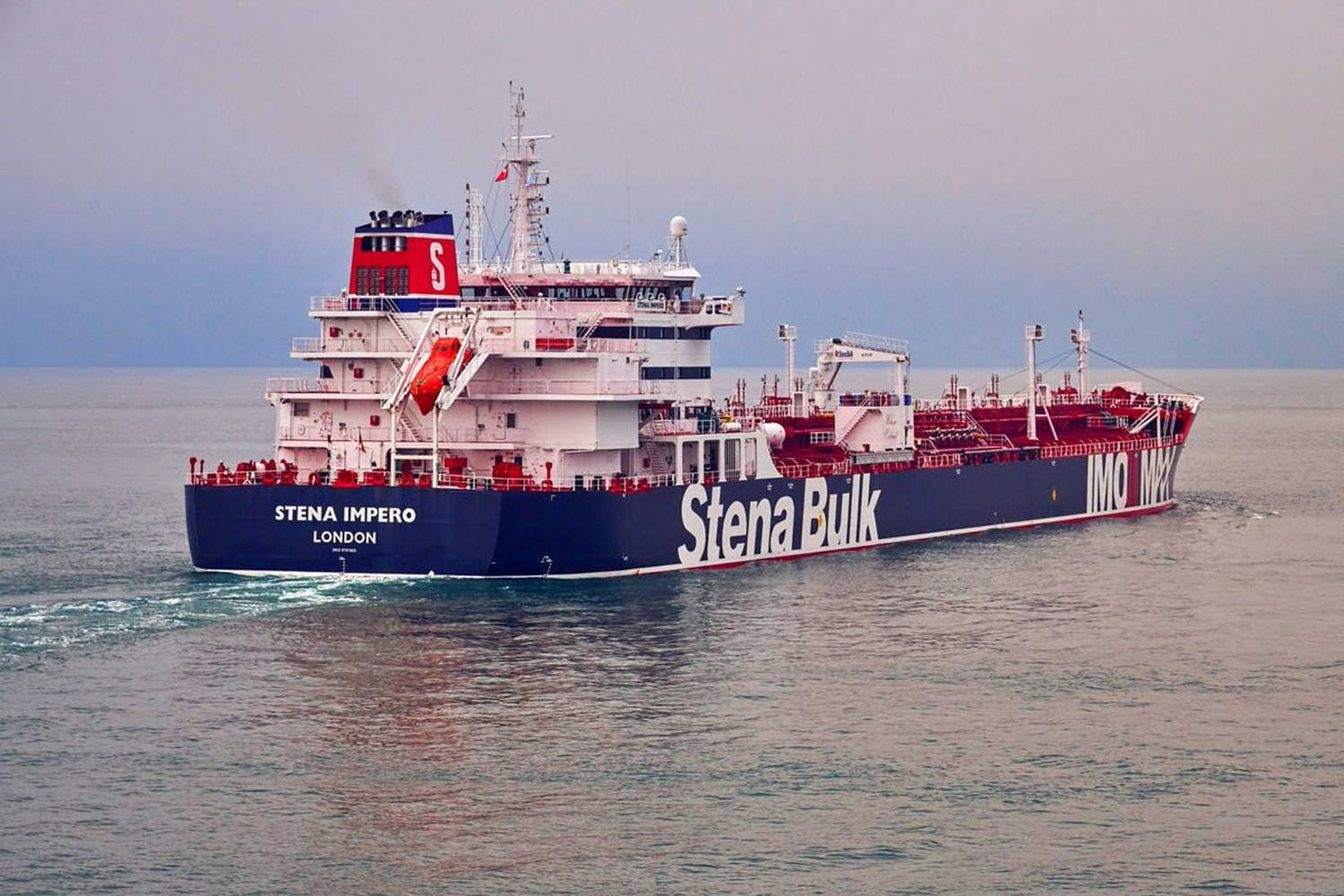 An undated handout photograph shows the 'Stena Impero', a British-flagged vessel owned by Stena Bulk, at an undisclosed location, obtained by Reuters on Friday. (Stena Bulk via Reuters)