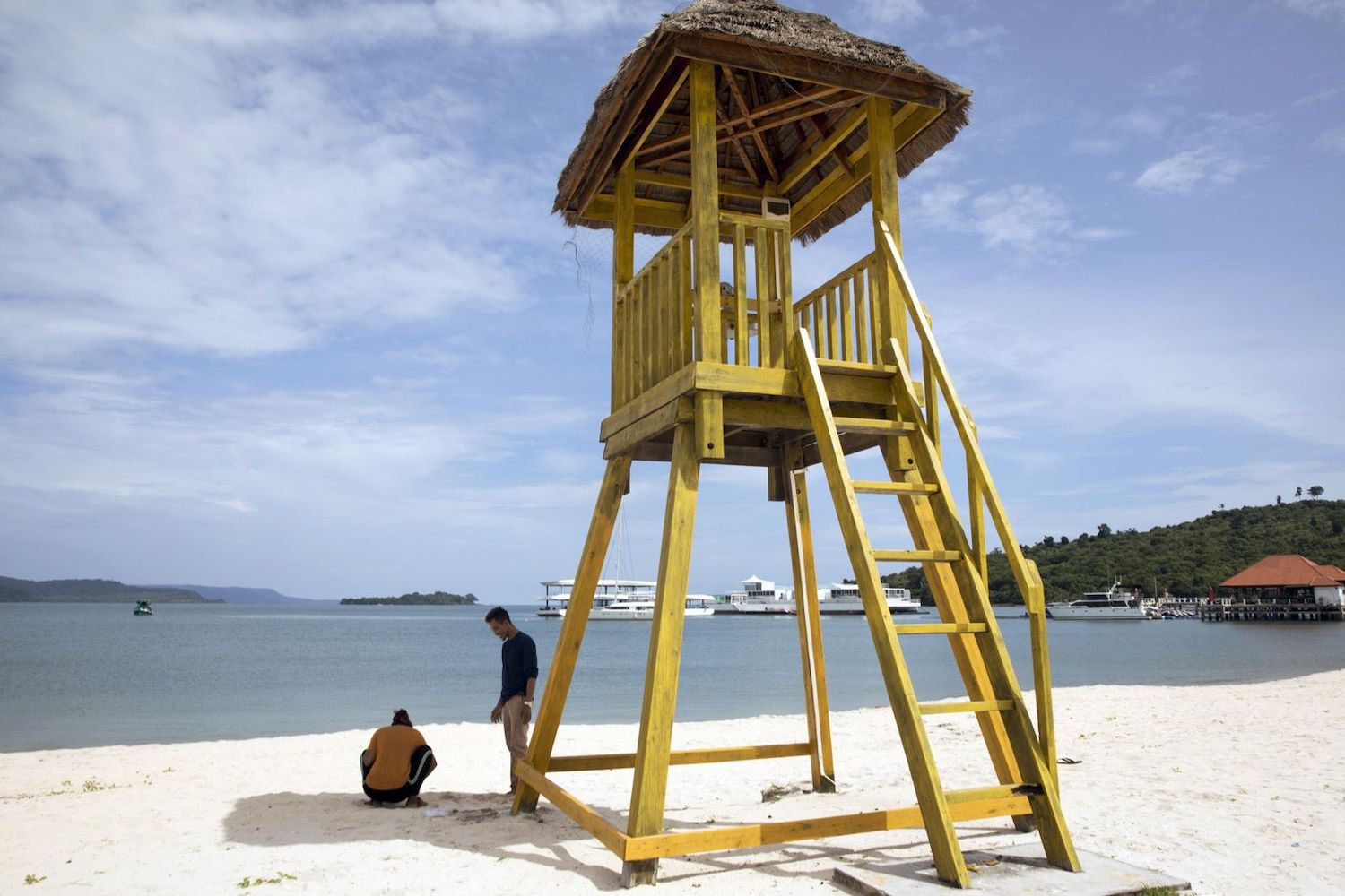 A lookout tower stands on the beach at Dara Sakor Seashore Resort in Botum Sakor district of Koh Kong, Cambodia. (Bloomberg Photo)