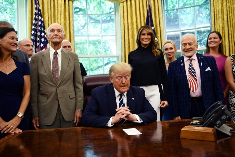 Trump welcomes Apollo 11 astronauts Aldrin, Collins to ...