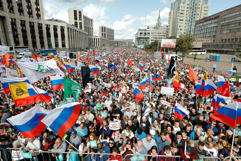 Joined by opposition leaders, thousands of protesters gathered in Moscow after authorities refused to register politicians seeking to contest a September vote for the capital's parliament.