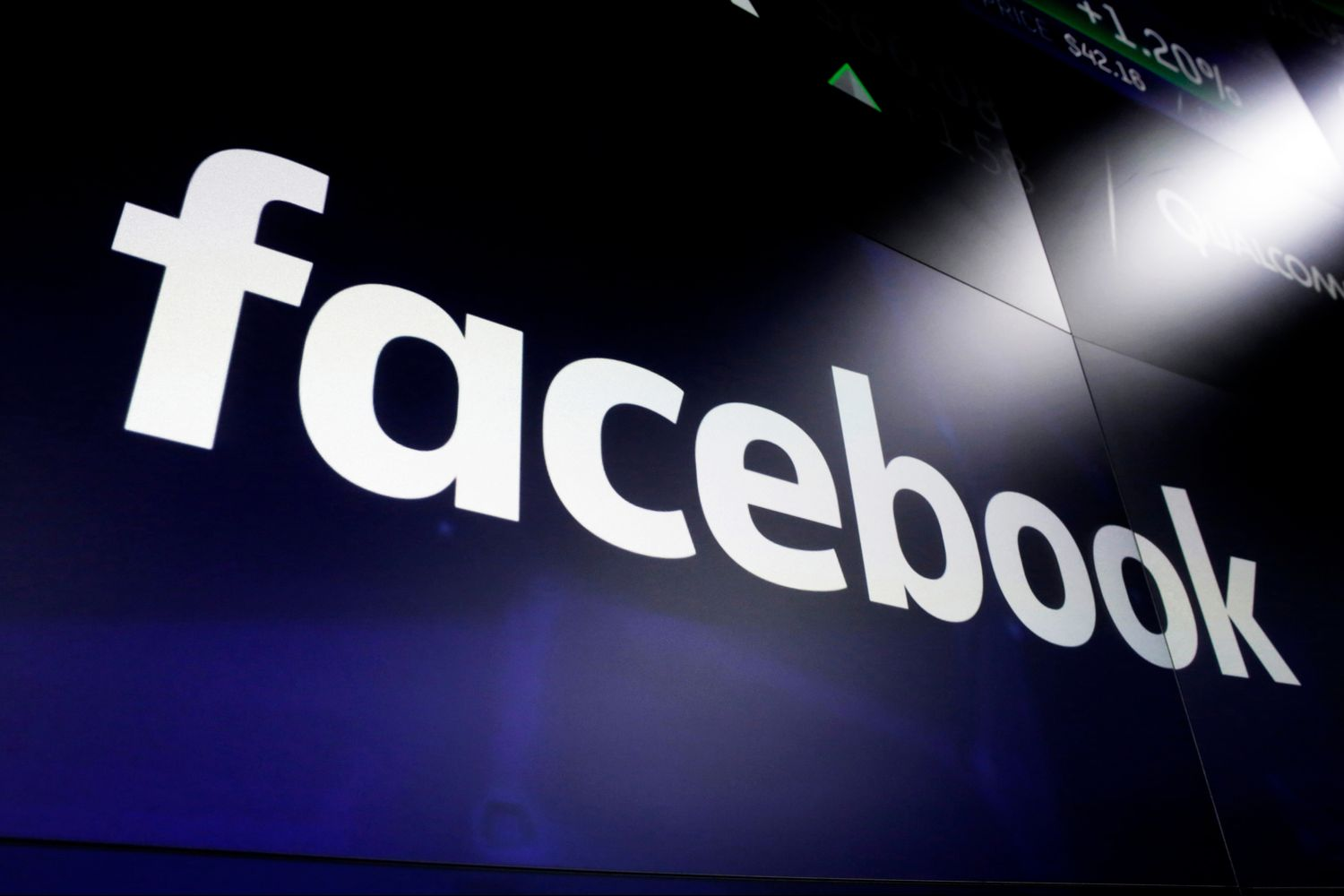 Facebook's logo is seen on screens at the Nasdaq MarketSite in New York's Times Square in March 2018. (AP file photo)