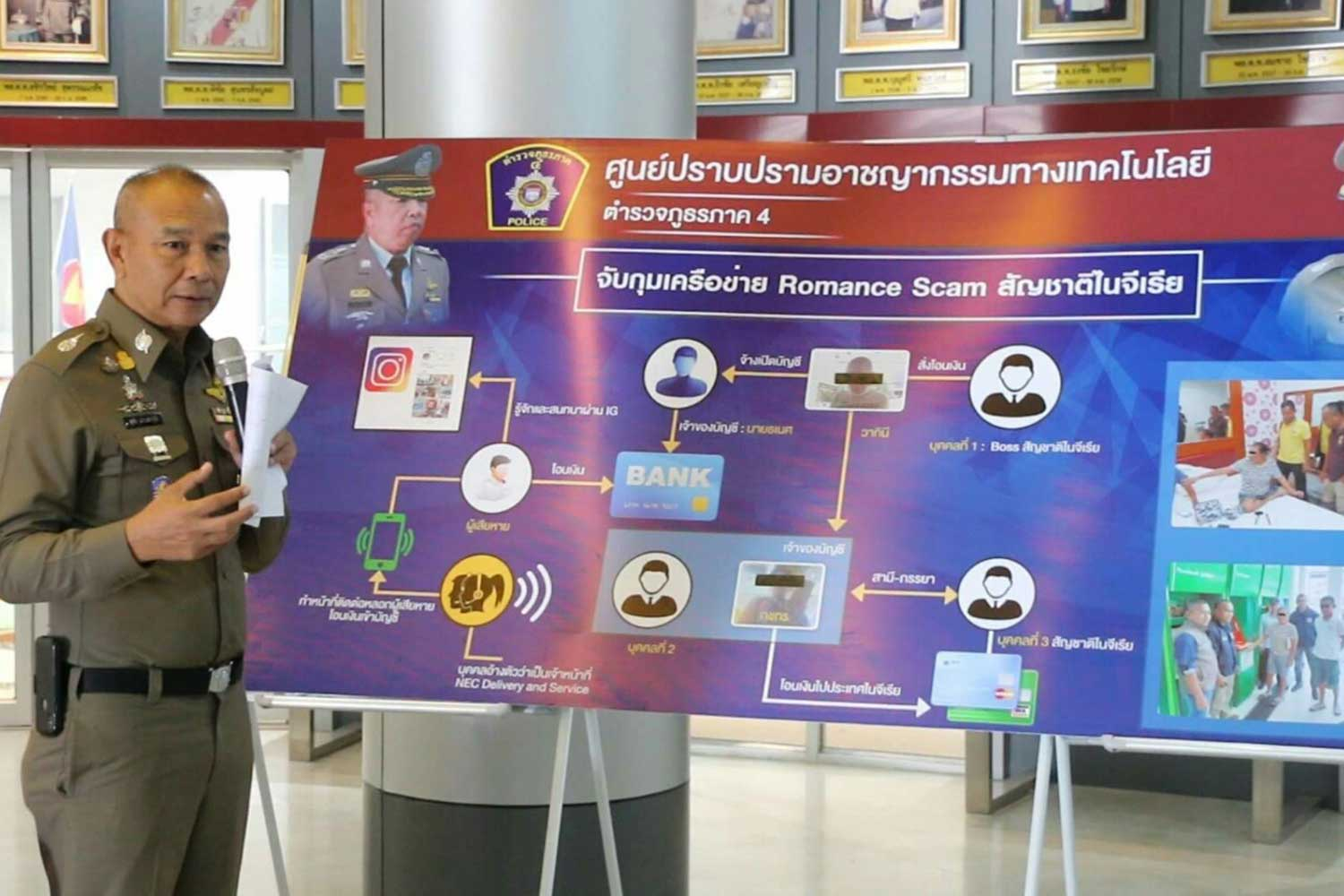 Pol Lt Gen Surachai Khuandechakupt, chief of Provincial Police Region 4, shows a chart depicting the operation of a Nigerian-led romance scam preying on victims in Udon Thani. Three Thais have been arrested and warrants issued for the two Nigerian leaders, he said. (Photo by Chakrapan Nathanri)
