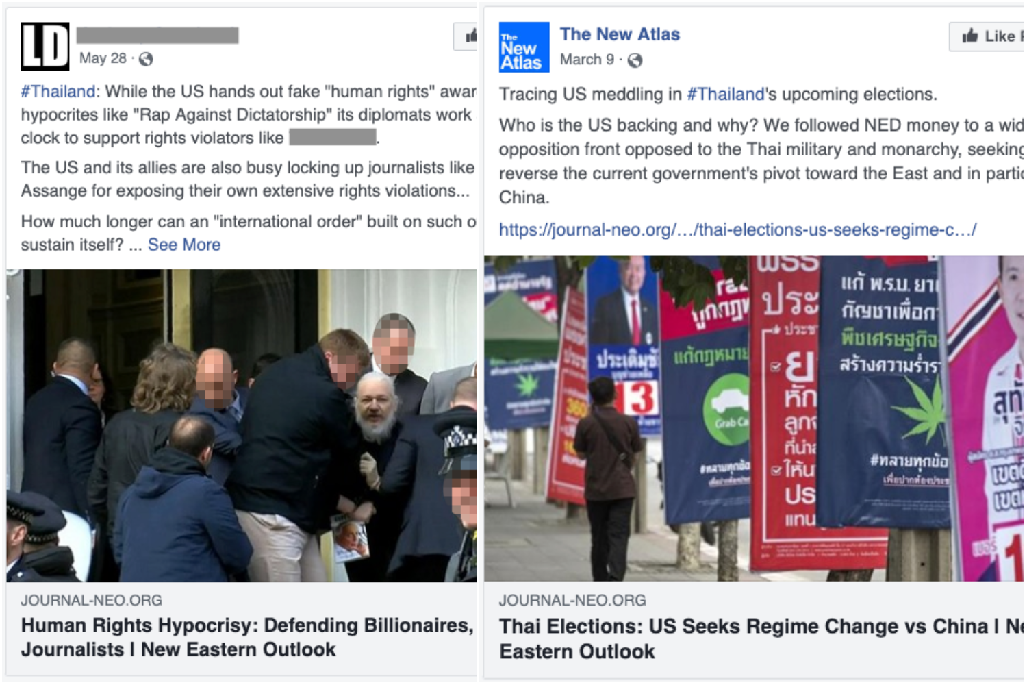 Two of the three examples of the posts generated by Facebook accounts and pages taken down by the social media giant on Thursday. (Facebook photos)