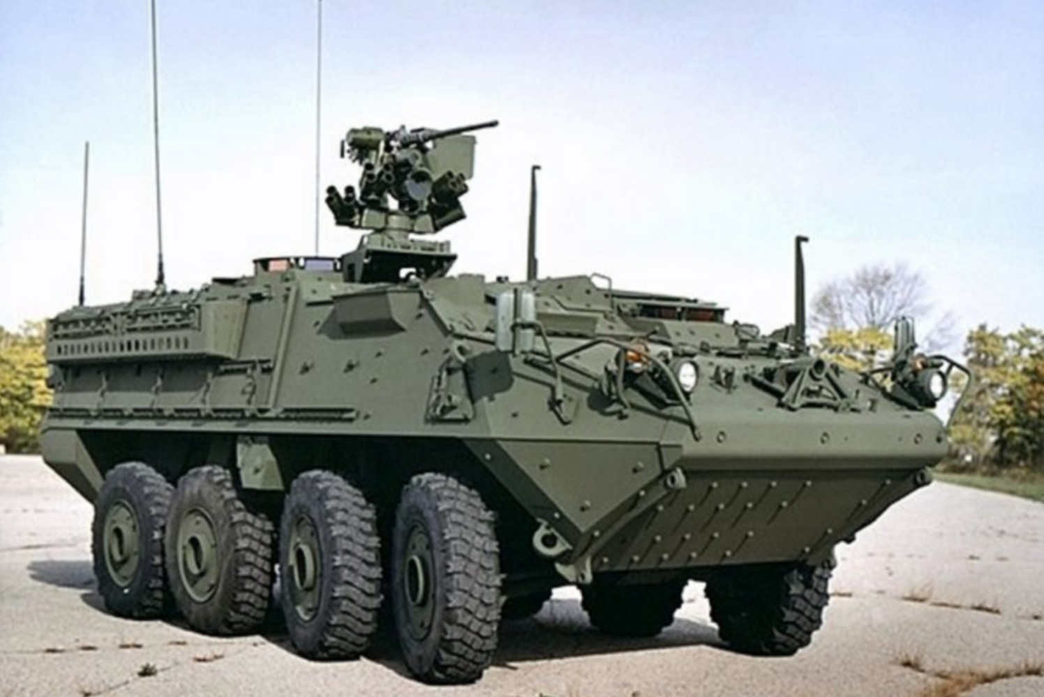 An M1126 Stryker armoured vehicle.
