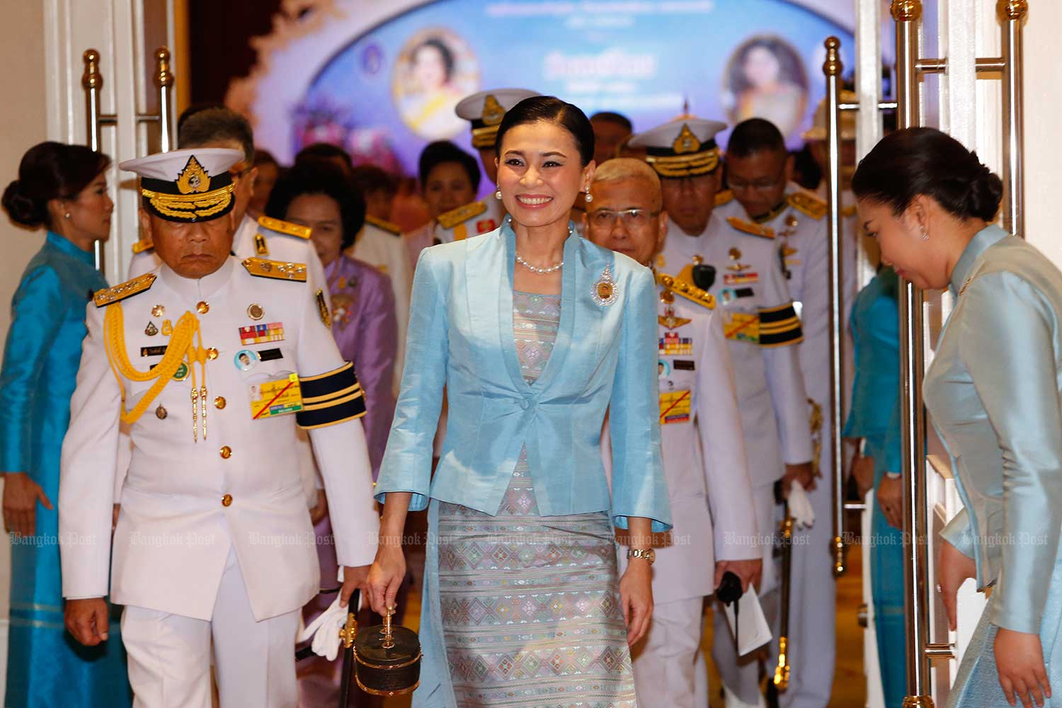 Her Majesty the Queen presides over an event marking National Women's Day on Thursday. (Photo by Pattarapong Chatpattarasill)