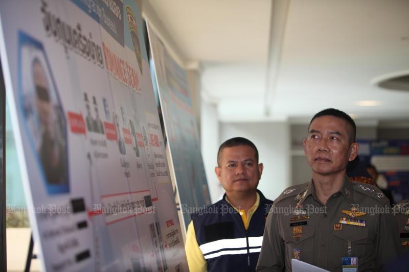 Immigration Bureau commissioner Pol Lt Gen Sompong Chingduang on Monday announces the arrest of seven fugitives from five countries. (Bangkok Post file photo)