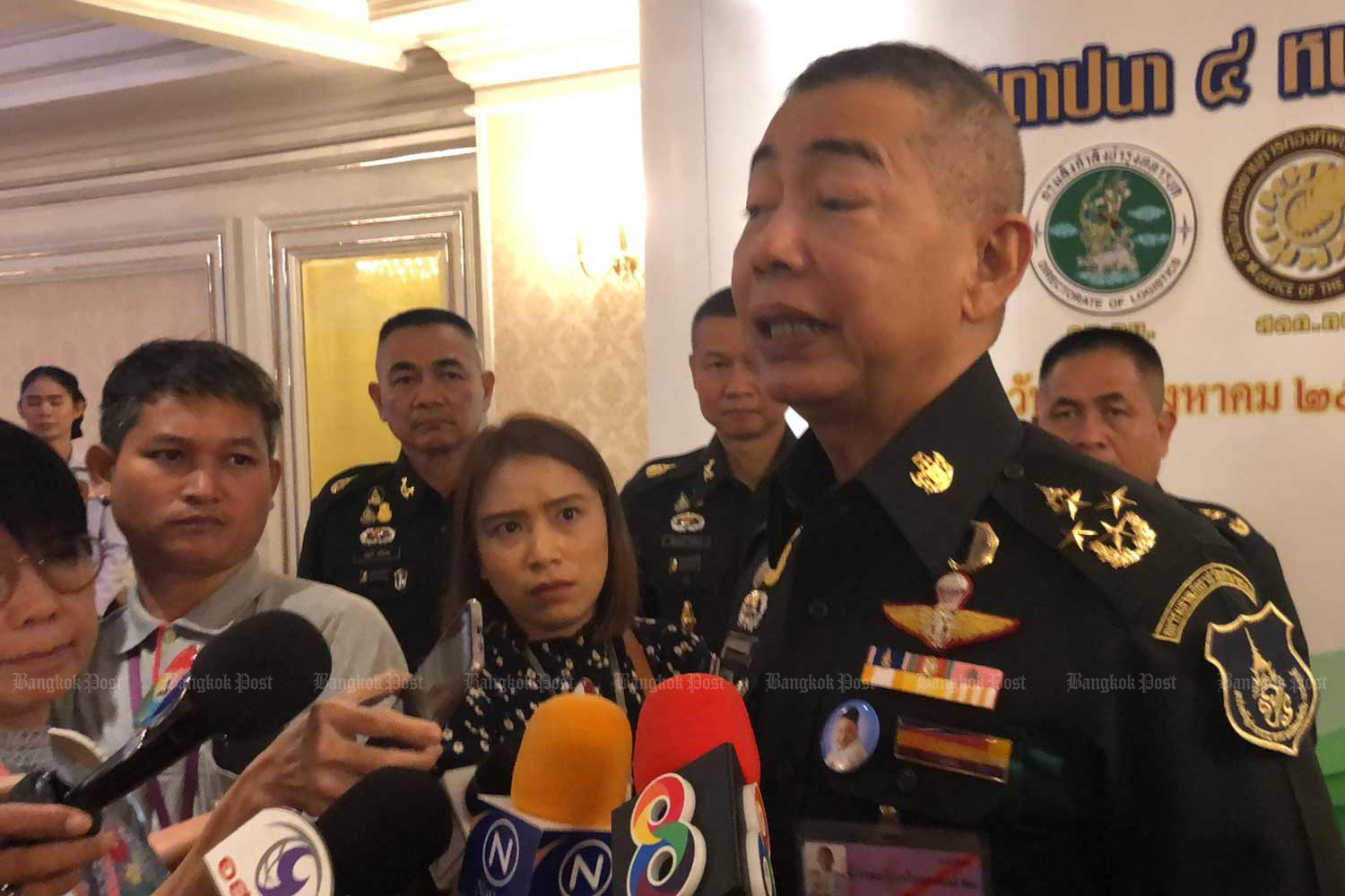 Army chief Gen Apirat Kongsompong comments on last week's Bangkok bombings, at the army's headquarters in Bangkok on Tuesday. (Photo: Wassana Nanuam)