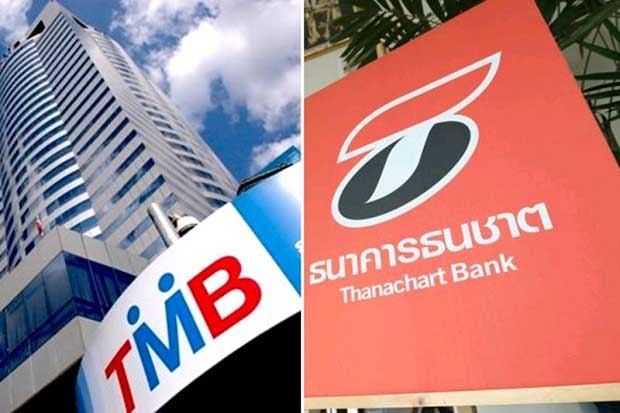 TMB Bank and Thanachart Bank (TBank) are set to sign a merger agreement by next week. (Bangkok Post photo)