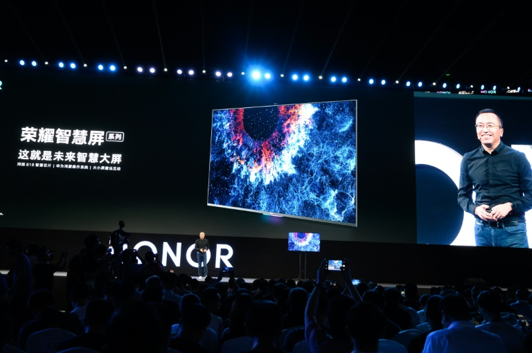 George Zhao, President of HONOR, a branch of Huawei, unveiled HONOR Vision Series, the world's first smart screen equipped with HarmonyOS during the Huawei developers conference.