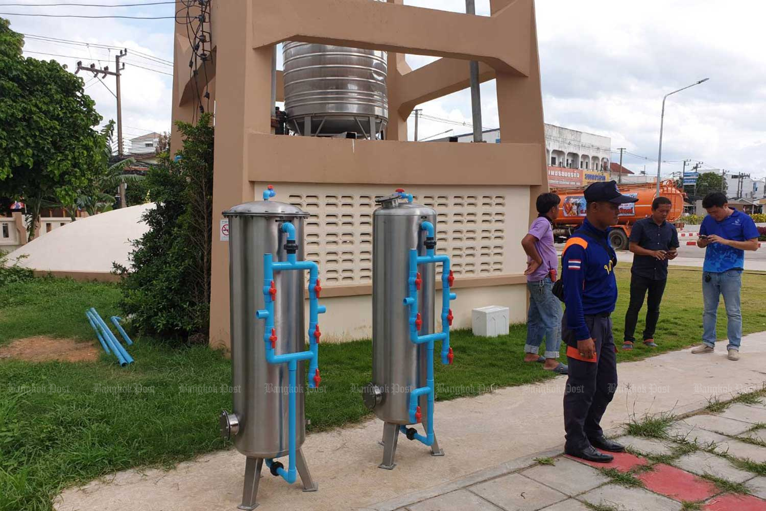 Eight artesian wells and other facilities are built at Surin Hospital to save the state-run hospital in Muang district of Surin province from a water emergency. (Photo by Wassana Nanuam)
