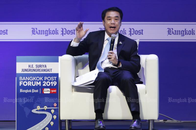 FILE PHOTO: Industry Minister Suriya Jungrungreangkit speaks at the Bangkok Post Forum 2019 on Aug 5. (Photo by Wichan Charoenkiatpakul)