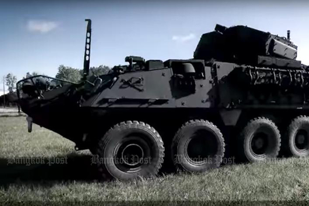 A batch of 60 US-made M1126 Stryker infantry carriers purchased in a deal clinched by the Thai army is due to be delivered early next month. (Photo from General Dynamics Land Systems)