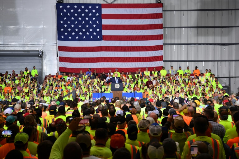 US President Donald Trump tells workers building a new Shell petrochemical facility that America is now the world's top energy producer - and  that plastic is fantastic.
