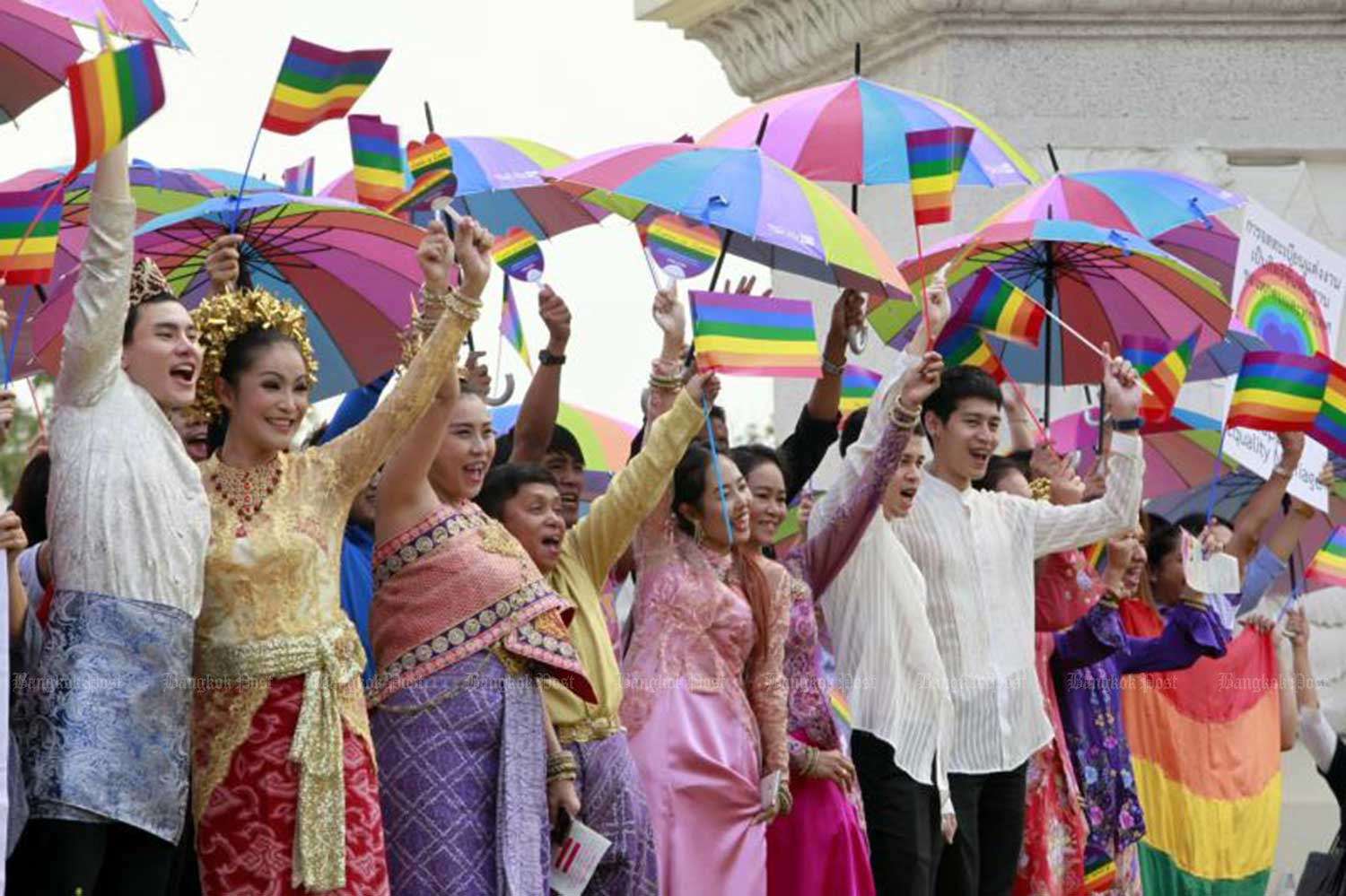 LONG PROCESS: Campaigners call for public awareness on LGBT rights and same-sex marriage during a parade from the Democracy Monument to Sanam Luang, organised by the Foundation for Sexual Orientation and Gender Identity Rights and Justice (FOR-SOGI) on Dec 15, 2015. (File photo by Apichart Jinakul)