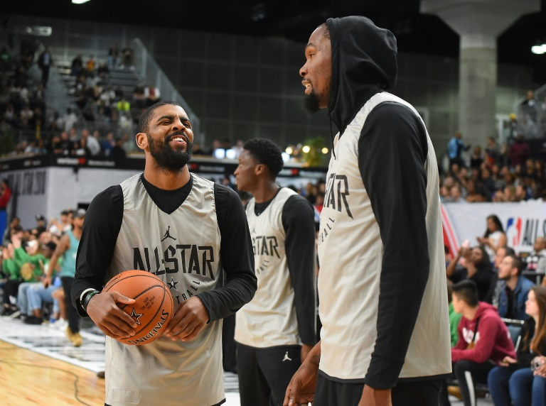 Kyrie Irving (left) and Kevin Durant of the Brooklyn Nets could have a new NBA boss as reports have Alibaba Group co-founder Joseph Tsai buying complete control of the team.