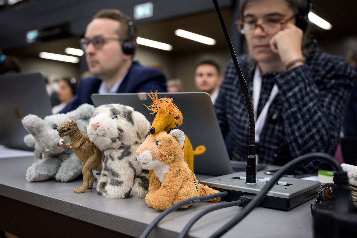 Stuffed animals are displayed in front of delegates attending the opening day of the CITES conference in Geneva on Saturday. (AP Photo)