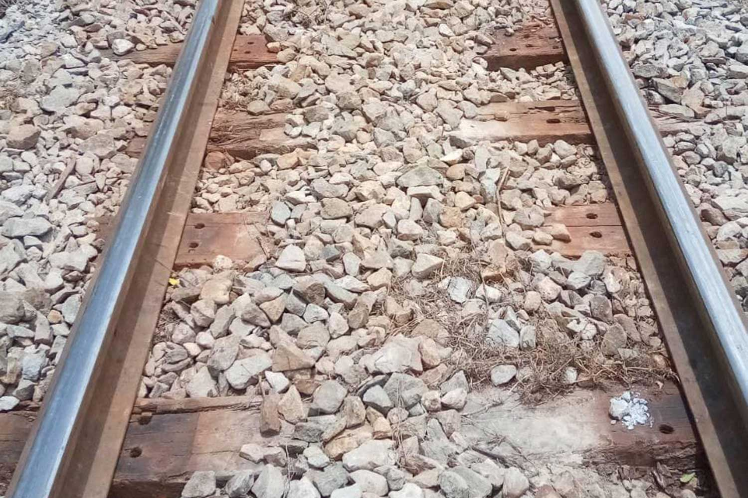The fastening screws and base plates used to hold the tracks on the sleepers are missing on this section of track near Monday's derailment in Cha-am district, Phetchaburi. (Photo taken from @pr.railway Facebook page)