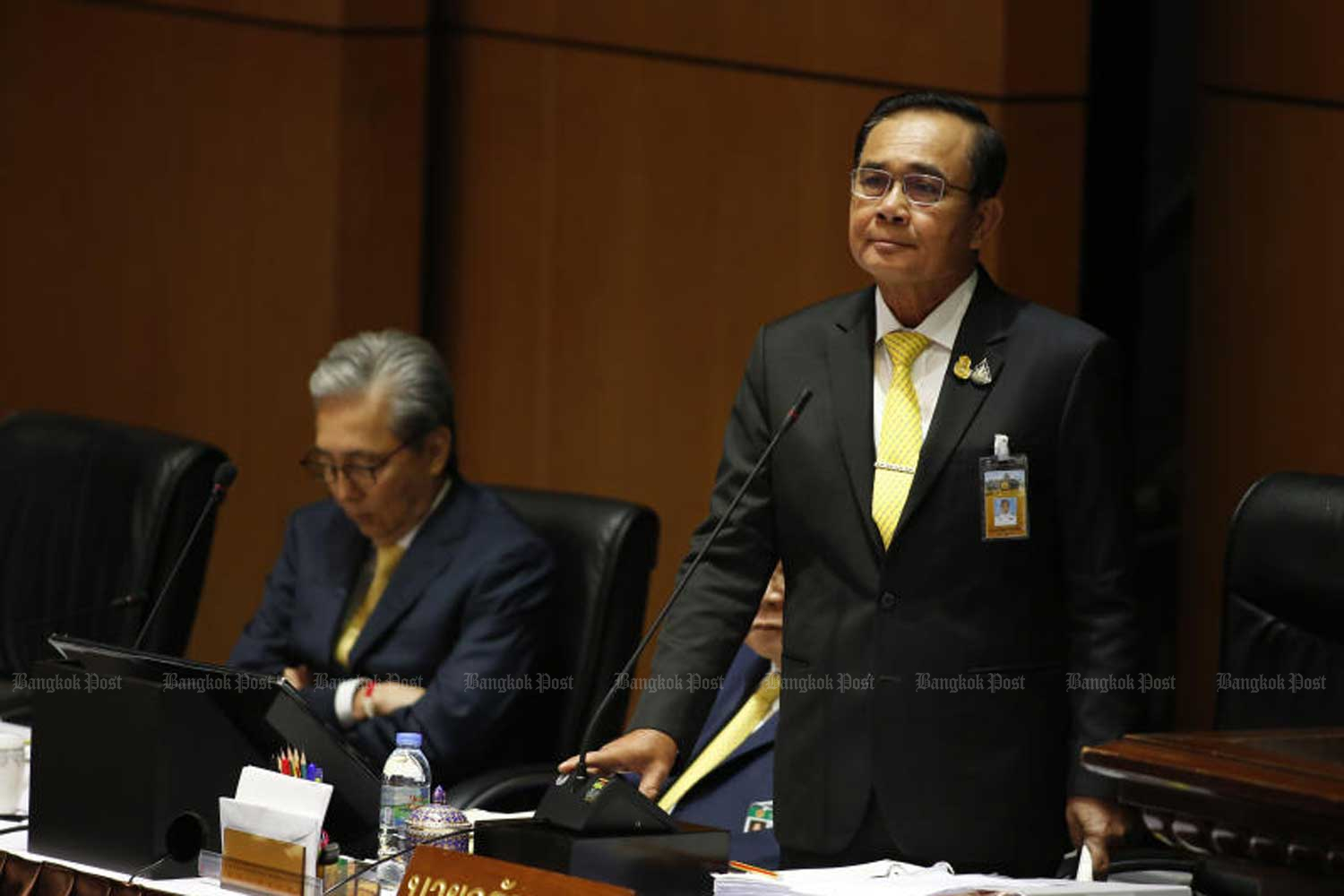 Prime Minister Prayut Chan-o-cha is a parliamentary session when he stated government policies on July 25. (Photo by Pattarapong Chatpattarasill)