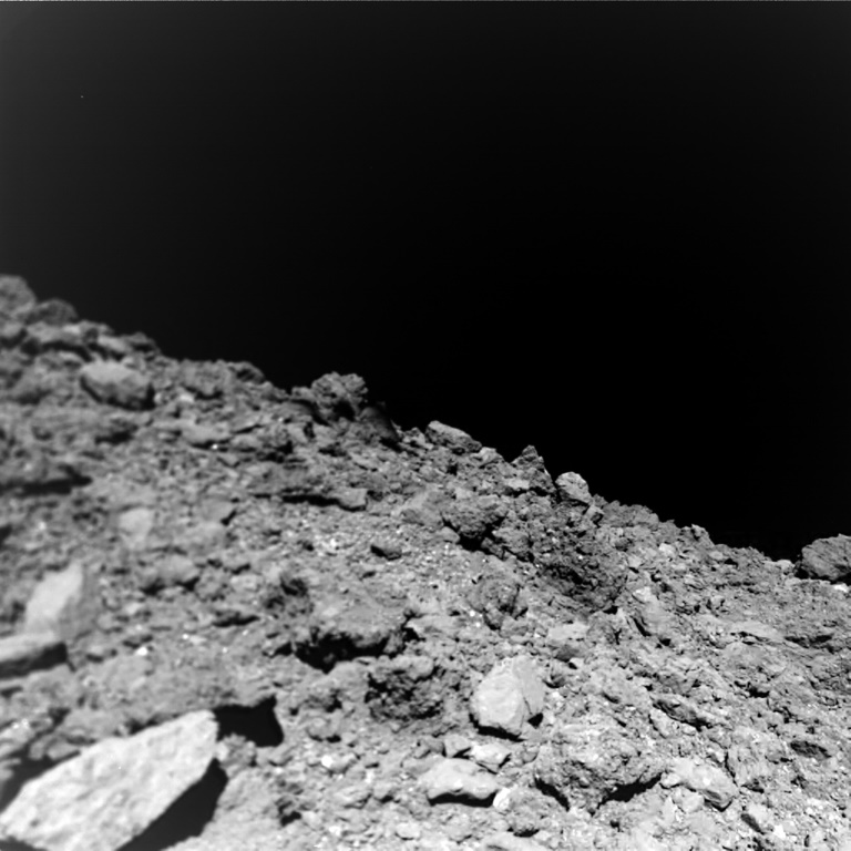 This undated photo, courtesy of Jaumann et al., Science 2019, shows a new image taken by the German-French Mobile Asteroid Surface Scout (MASCOT) on the surface of the near-Earth asteroid Ryugu.