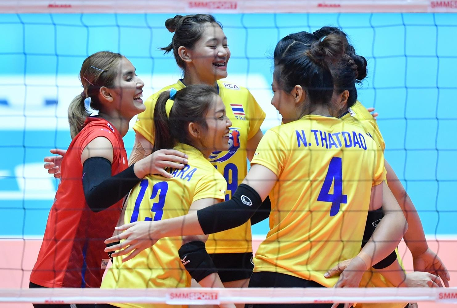 Thai players celebrate during their semi-final against China on Saturday. They lost to Japan in the 2019 Asian Women's Volleyball Championship final on Sunday.