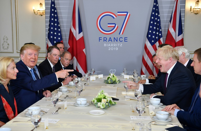 UK Prime Minister Boris Johnson and US President Donald Trump were on obviously friendly terms as they sat down for a working breakfast in the French resort of Biarritz