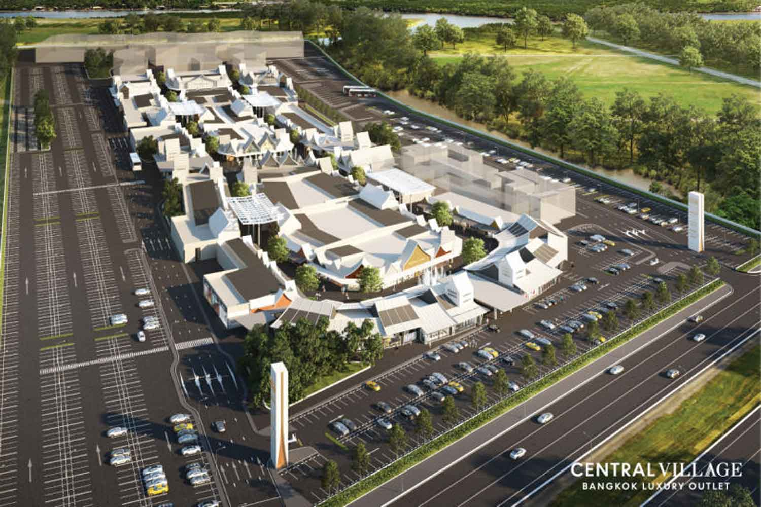 An artist's impression of Central Village luxury mall, beside Suvarnabhumi airport. The Interior Ministry is investigating its legality, which has been challenged by Airports of Thailand on issues including aviation safety. (Photo from Central Pattana Plc)