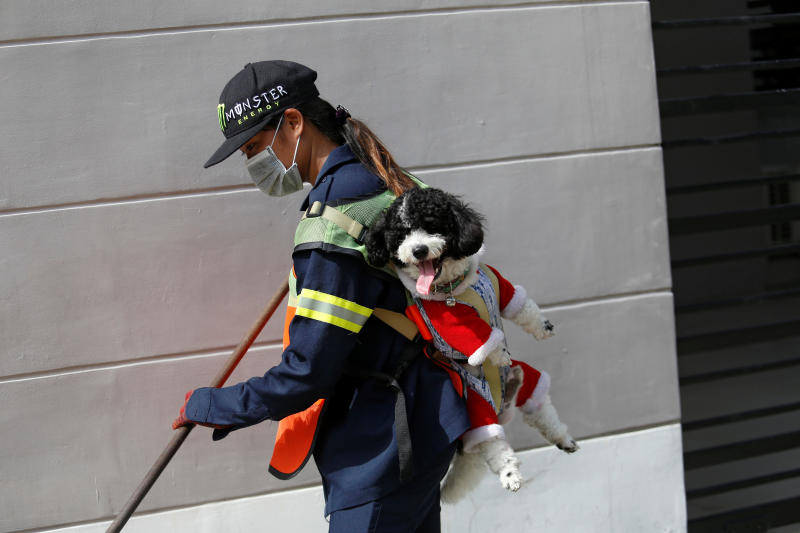 Street sweeper Thitirat Keowa-ram carries her 1-year old poodle-shih tzu mix breed as she works on a street in Bangkok on Wednesday. (Reuters photos)
