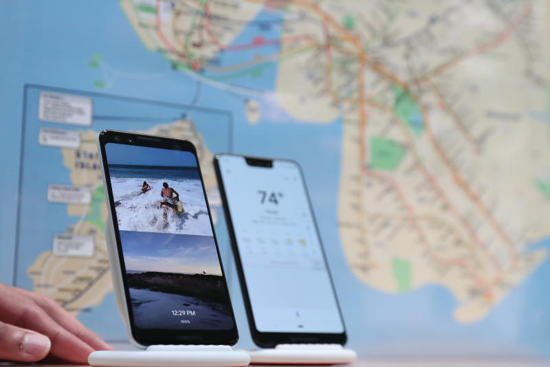 The Google Pixel 3 third generation smartphones are seen on display after a news conference in Manhattan, New York, on Oct 9, 2018. (Reuters photo)