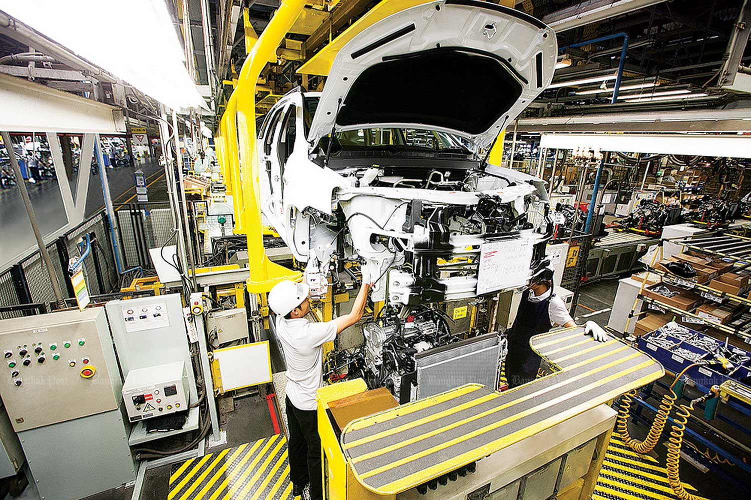 Cars made at General Motors' plant in Rayong province are exported around the globe. (Bangkok Post file photo)