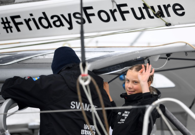 Swedish climate activist Greta Thunberg, 16, arrives in the US after a 15-day journey across the Atlantic in the Malizia II, a zero-carbon yacht, on August 28, 2019 in New York.
