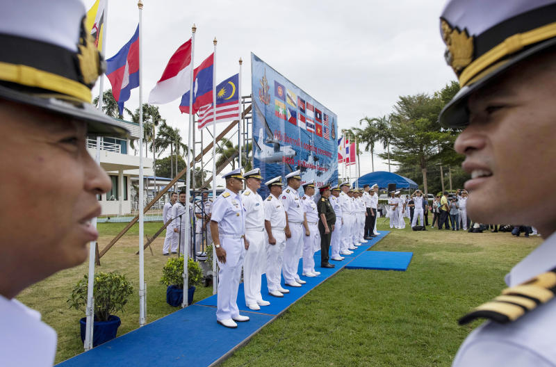 Officers of the US Navy and maritime forces of Association of Southeast Asian Nations (Asean) participate in the inauguration ceremony of the Asean-US Maritime Exercise in Sattahip, Thailand, on Monday. (AP photo)