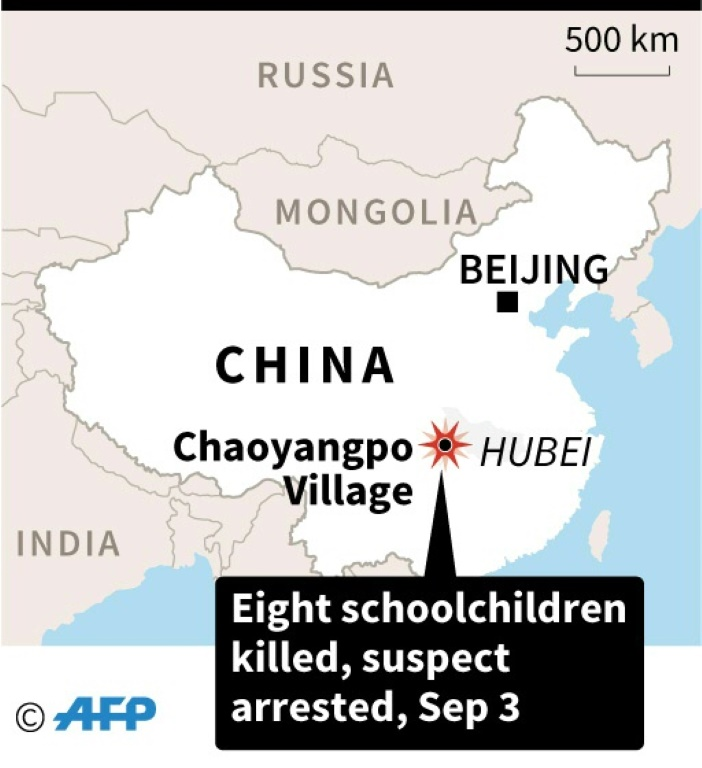 Map locating Chaoyangpo Village in China's Hubei province where eight schoolchildren were killed on Tuesday.