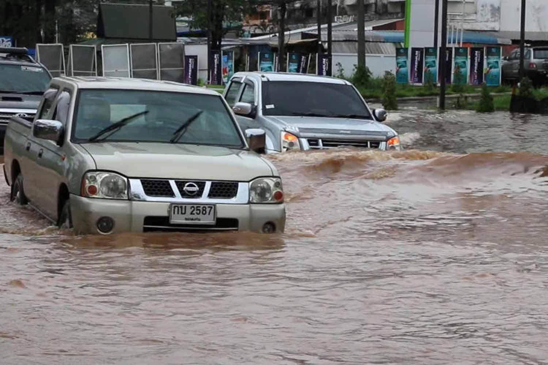 Flooding in downtown Khon Kaen province on Monday (file photo by Chakkrapan Natanri)