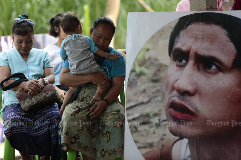 "A portrait of missing Karen activist Porlajee ""Billy"" Rakchongcharoen is displayed at an event held on April 17, 2018 in Kaeng Krachan district of Phetchaburi. His bones were found this week. (Patipat Janthong)"