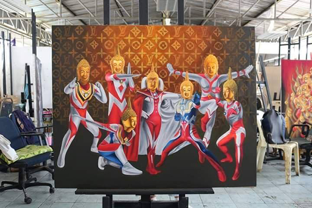 One of four paintings by an art student at Nakhonratchasima Rajabhat University that uses Ultraman to represent Lord Buddha. (Photo supplied by Prasit Tangprasert)
