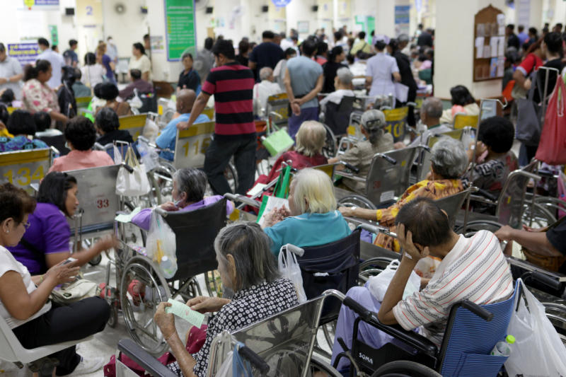 Chon Buri Hospital is the first hospital to offer a mobile app that allows patients to check information on government medical welfare packages. (Bangkok Post photo)