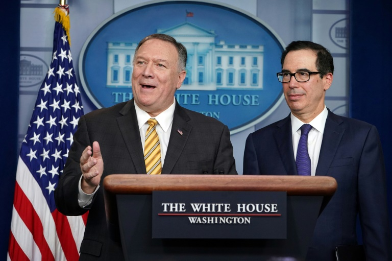 US Treasury Secretary Steven Mnuchin (R) and Secretary of State Mike Pompeo brief the media on September 10, 2019, at the White House.