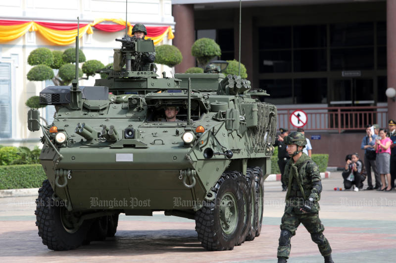 A Stryker armoured vehicle at the Royal Thai Army headquarters on Thursday, when the army accepted delivery of the first 10 of 60 of the vehicles acquired from the US. (Photo by Chanat Katanyu)
