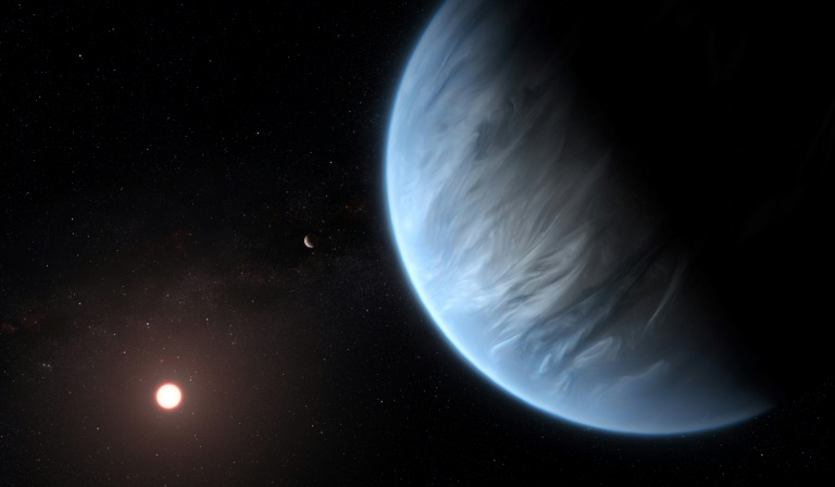 An ESA  Hubble artist's impression of the K2-18b super-Earth the only super Earth exoplanet known to host both water and temperatures that could support life