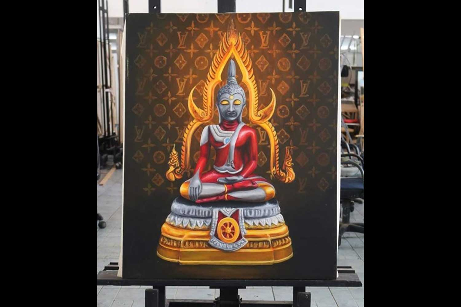 The second of the four controversial Ultraman Buddha paintings. This one sold for two million baht when the auction closed on Friday. (Supplied photo)