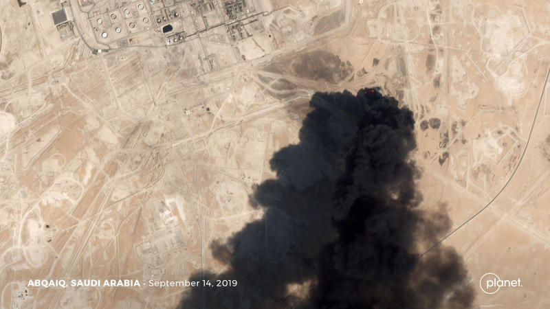 A satellite image shows an apparent drone strike on an Aramco oil facility in Abqaiq, Saudi Arabia on Saturday. (Planet Labs Inc/Handout via REUTERS)